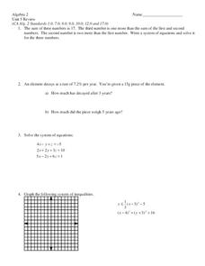 System of Equations Worksheet