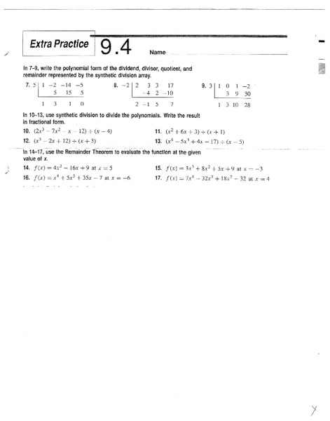 Synthetic Division Worksheet For 10th 11th Grade
