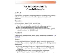 An Introduction to Quadrilaterals Lesson Plan