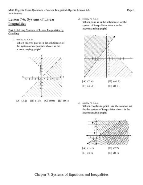 Systems of Linear Inequalities Worksheet for 9th - 11th