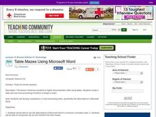 Table Mazes Using Microsoft Word Lesson Plan