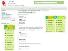 Alphabetizing Words Lesson Plan