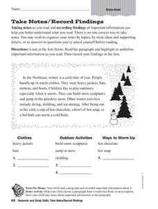 Take Notes/Record Findings Graphic Organizer