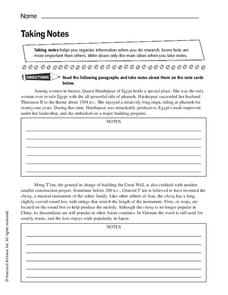 Taking Notes Worksheet