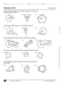 Tangent Lines Worksheet for 10th Grade | Lesson Planet