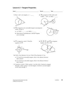 Tangent Properties Worksheet for 10th - 12th Grade   Lesson