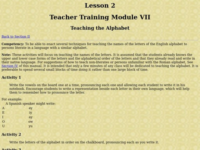 Teaching the Alphabet Lesson Plan