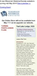 Teal Lake Lodge, 1923 Lesson Plan
