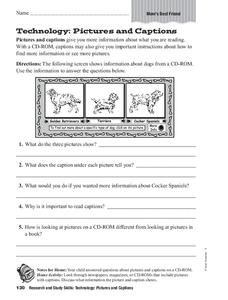 Technology: Pictures and Captions Worksheet