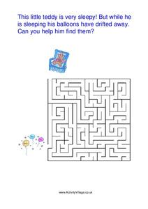 Teddy Bear Maze Worksheet