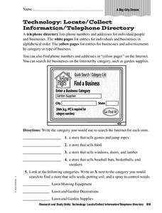 Telephone Directory Worksheet