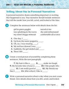 Telling About You in Personal Narratives Worksheet
