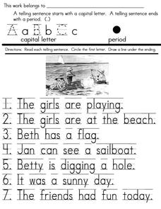 Telling Sentences Worksheet