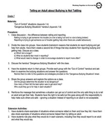 Tattling Reporting Lesson Plans Worksheets Reviewed By Teachers