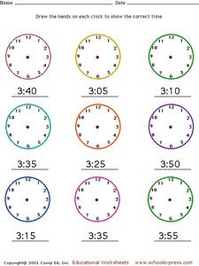 Telling Time - Drawing Hands on a Clock Worksheet