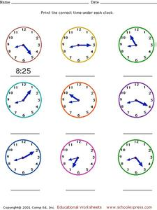 Telling Time - Five Minute Intervals Worksheet