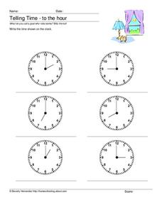 Telling Time - To the Hour Worksheet