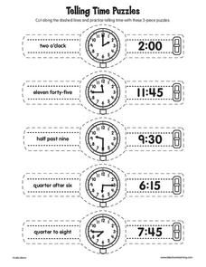 Telling Time Puzzles Worksheet