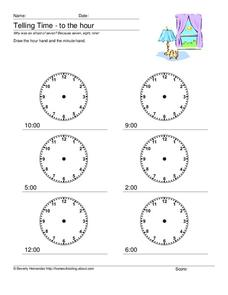 Telling Time to the Hour Worksheet