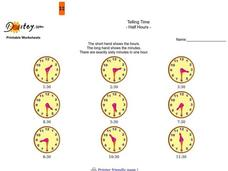 Telling Time to the Half Hour Worksheet