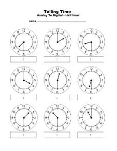 Telling Time: Analog to Digital Worksheet
