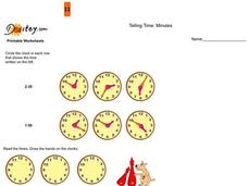Telling Time:  Minutes Worksheet