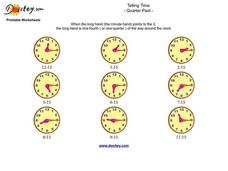 Telling Time: Quarter Past Worksheet