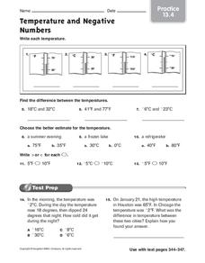 Temperature and Negative Numbers Worksheet