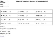 Temperature Conversion Worksheet