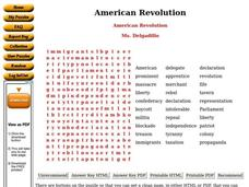 American Revolution Puzzle Worksheet