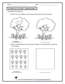 Ten More or Ten Less Worksheet