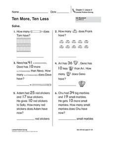 Ten More, Ten Less Worksheet