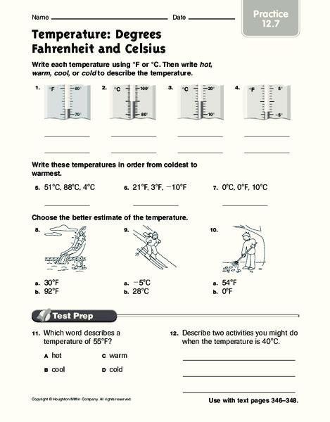 Temperature Degrees Fahrenheit And Celsius Worksheet