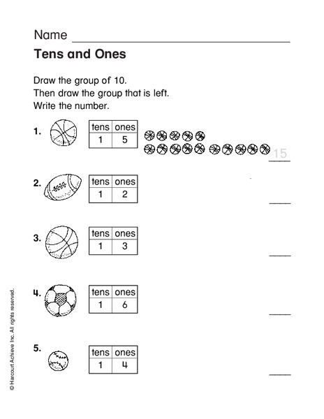 Tens and Ones Worksheet for 1st - 2nd Grade | Lesson Planet