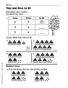 Tens and Ones to 80 Worksheet
