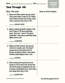 Tens Through 100 Worksheet