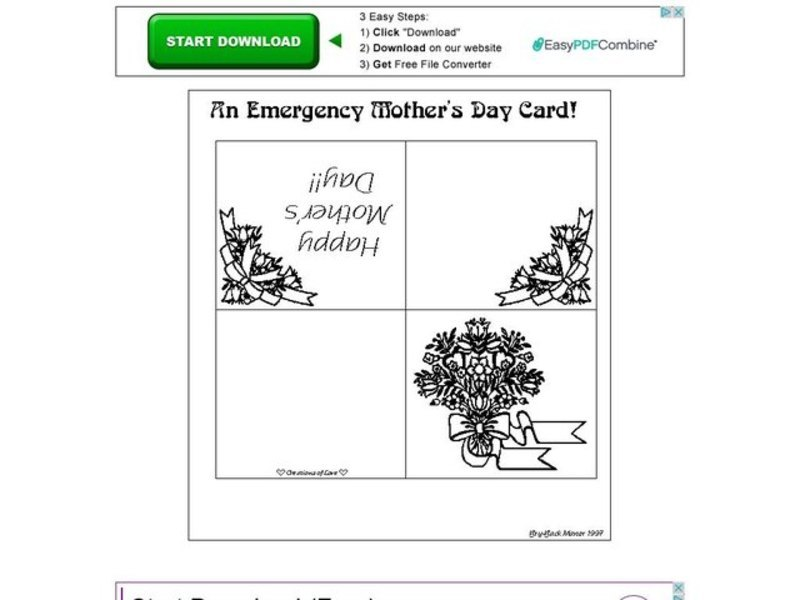 An Emergency Mother's Day Card! Worksheet for 1st - Higher