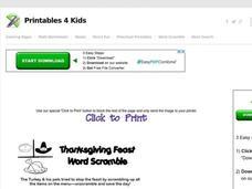 Thanksgiving Word Scramble Lesson Plans & Worksheets