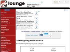 Thanksgiving Word Search Worksheet