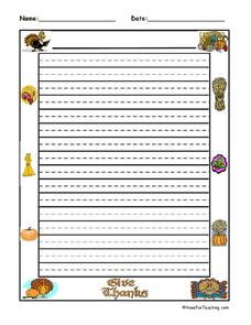 Thanksgiving Writing Paper Lesson Plan