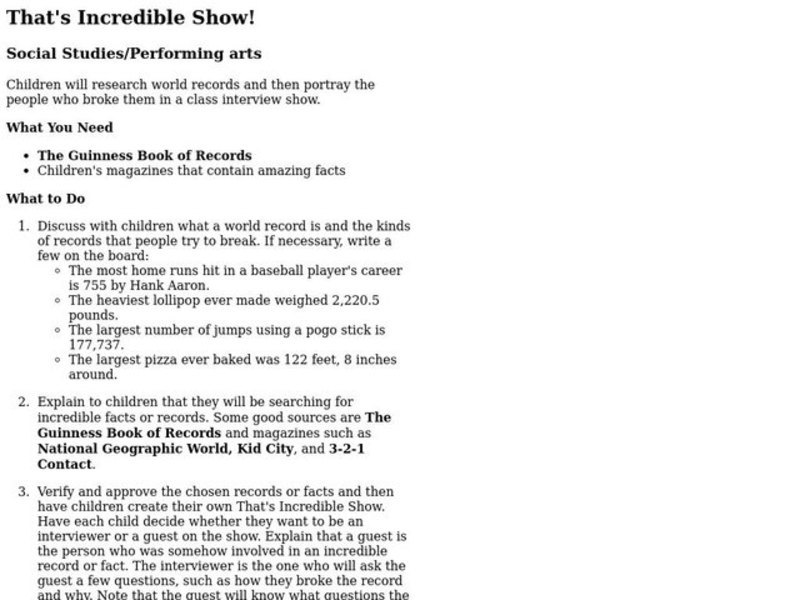 That's Incredible Show! Lesson Plan