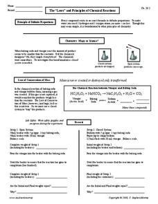 "The ""Laws"" and Principles of Chemical Reactions Worksheet"