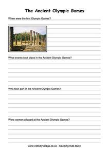 The Ancient Olympic Games Worksheet