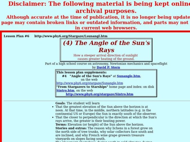 The Angle of the Sun's Rays Lesson Plan