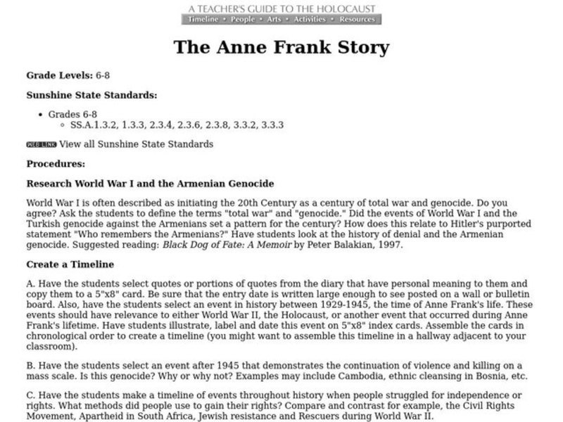 The Anne Frank Story Lesson Plan