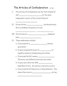 The Articles of Confederation Worksheet for 5th - 8th Grade | Lesson ...