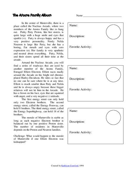 The Atoms Family Album Worksheet for 5th - 7th Grade ...