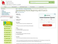 Alphabetizing Words Beginning with R and S Lesson Plan