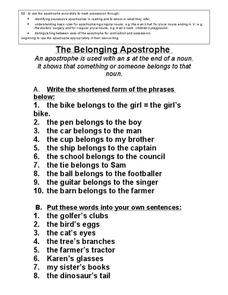 The Belonging Apostrophe Worksheet