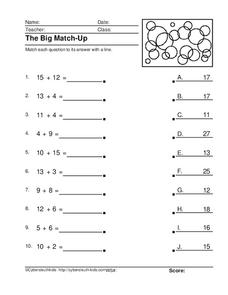 The Big Match-Up Worksheet